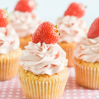 Spring Cupcakes with Strawberry Swiss Meringue Buttercream