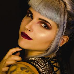 Rebecca Tia Rochester - Alt Model  by John Haswell - People Portraits of Women ( studio, makeup, alternitive, face, tattoo, hair, head shot, portrait,  )