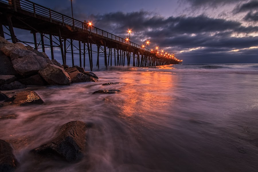 lights on. by Michael Smith - Landscapes Starscapes ( water, pier, sea )