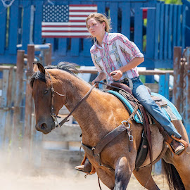 by Kevin Esterline - People Street & Candids ( horse, flag, rodeo, girl, female, ride,  )