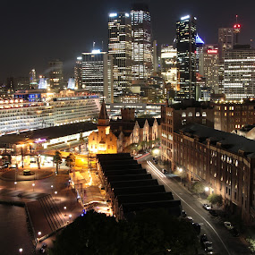 The Rocks Sydney by Richard Heersmink - City,  Street & Park  Skylines ( lights, the rocks sydney, boot, night )