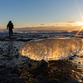 Beached by Jamie Rabold - Landscapes Waterscapes ( water, ice, north shore, lake superior, sunrise, morning, sun, gooseberry state park )