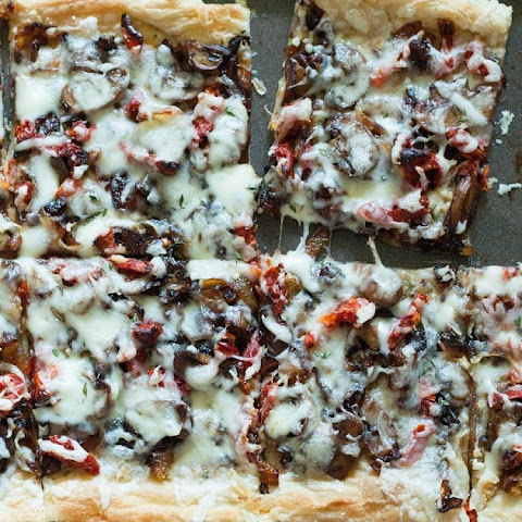 Caramelized Onion, Mushroom, and Sun-dried Tomato Tart
