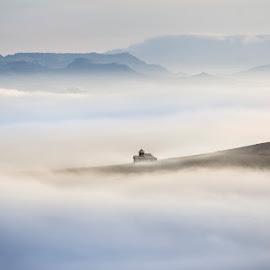 Above by Cristi Rus - Landscapes Cloud Formations ( church, autumn, fog, landscape, mist )
