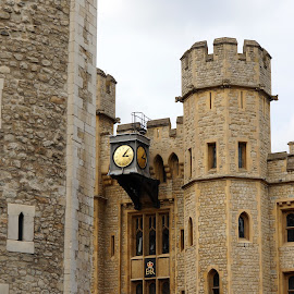 Tower of London w Cannon by Dee Haun - Buildings & Architecture Public & Historical ( canon, tower of london, tower, london, clock, coat of arms, historical, buildilngs, 130814$0305e1 )