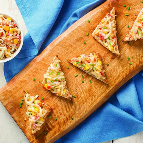 Crab, Corn and Mozzarella Toasts
