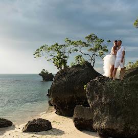 Light on the rock by Andrew Morgan - Wedding Bride & Groom ( love, zanzibar, wedding, beach, bride, groom )