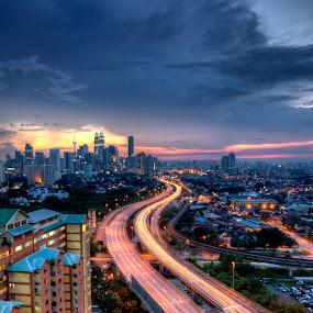 KL View from Berembang Indah by Zack Zaidi - City,  Street & Park  Skylines ( klcc, skyline, sunset, night, malaysia, kuala lumpur )