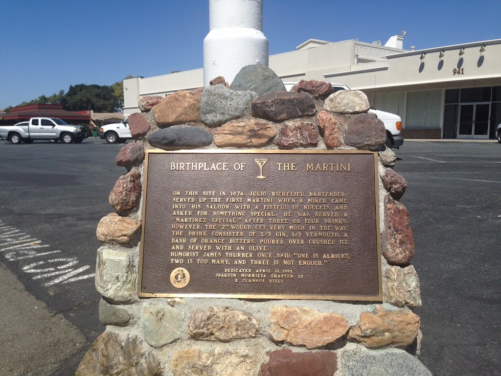 A plaque marking the supposed birthplace of the Martini cocktail, at 911 Alhambra Avenue in Martinez, California. The location of the plaque is approximate, and the story on the plaque is likely more ...