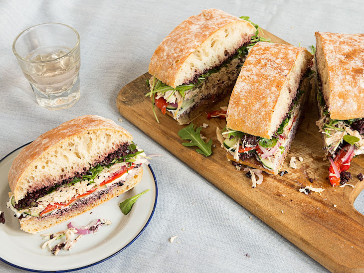 Roast Chicken Pan Bagnat with Olive Tapenade and Goat Cheese Recipe ...