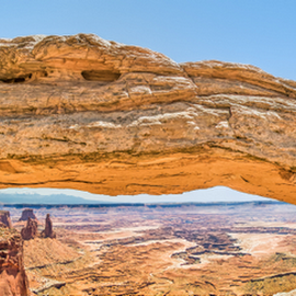 Mesa Arch by Kenneth Keifer - Landscapes Deserts ( arch, geologic, stone, national parks, rock, yellow, red rocks, geology, travel destination, sky, butte, nature, mesa, plateau, buck canyon, wonder, orange, grand circle, awe, the west, cliff, horizon, canyon, united states, washer woman butte, view, bridge, mesa arch, the maze, natural, panoramic, colorful, sandstone, arid, landscape, panorama, overlook, southwest, rock formation, geological, sightseeing, desert, aerial, canyonlands national park, utah, canyonlands, blue, wide angle, vista, four corners )
