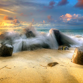 beach by Tut Bolank - Landscapes Waterscapes ( legian, bali, kuta, sunset at kuta )