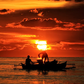 amberdawn fishermens by Alvin Lee Hahuly - Landscapes Waterscapes ( fishing boat sun sunset dawn amber )