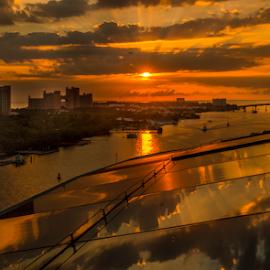 Sunrise In  Nasau by Joseph Law - City,  Street & Park  Skylines ( cruiseship, reflections, sea, bridge, hotel, sunrise, nasau, bahamas )