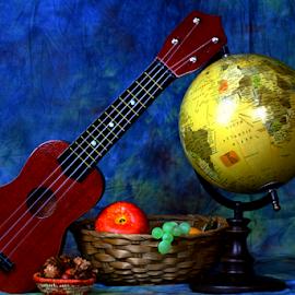 by Dipali S - Artistic Objects Other Objects ( still life, artistic, fruit'basket, ukele, objects, globe )