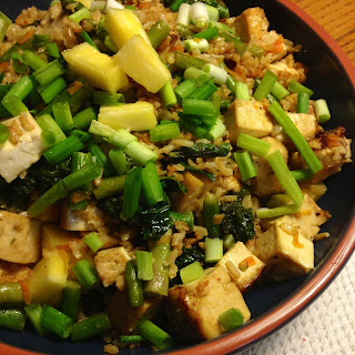 Kale And Asparagus Pineapple Fried Rice With Maple Glazed Tofu
