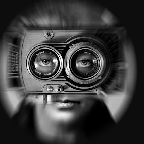 Eyes... by Zenonas Meškauskas - Digital Art People ( lenses, flexaret, old, glasses, camera, eyes )
