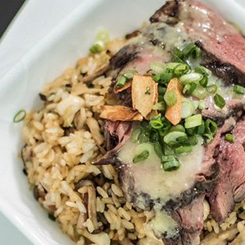 Miso Ginger Roast Beef with Mushroom & Garlic Japanese Fried Rice