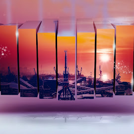 Red sky by Opreanu Roberto Sorin - Illustration Places ( building, harbor, cranes, dockyard, harbour, quay, chilly, boat, dock, coast, city, photo frame, cold, bay, color, outdoor, multi photo, day, district, light, chimney, multi frame )