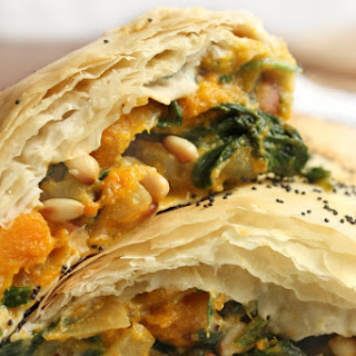 Pumpkin, Pine nut and Spinach Strudel