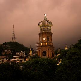 Puerto Vallarta by Vladimir Nagalin - City,  Street & Park  Street Scenes ( church, color, mexico, downtown, puerto vallarta )