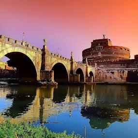 Castel Sant'Angelo  by Arda Erlik - Buildings & Architecture Public & Historical ( rome, bridge, castel sant angelo, italy )