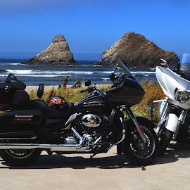 Harley & Victory by Jennifer Parmelee - Transportation Motorcycles ( victory, harley, water, bikes, ocean, rocks,  )
