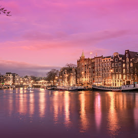 Amsterdam Sunset by Marcel Eringaard - City,  Street & Park  Street Scenes ( night photography, night scene, holland, amsterdam, nikon, netherlands, marz photography, nightscape )