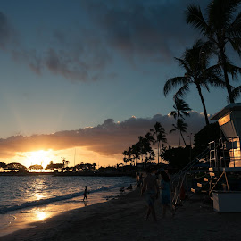 Hickam Beach by Brianne Toma - Landscapes Beaches ( lifeguard, hickam, sky and sand, harbor, post, tropical, palm trees, honolulu, beach, pearl harbor, hawaii, oahu, pre-sunset )