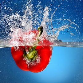 Capsicum by Vineet Johri - Food & Drink Fruits & Vegetables ( water tank, red, splash, vkumar photography, capsicum )