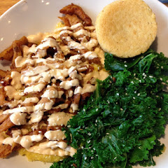 BBQ soy curls with kale, grits, and a corn muffin. All GF!