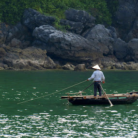 Fishing in Ha Long Bay by Vita Perelchtein - Novices Only Landscapes ( water, northern vietnam, food, ha long bay, traditional, vietnam, fishing, halong bay, relaxing, boat, culture, hat )