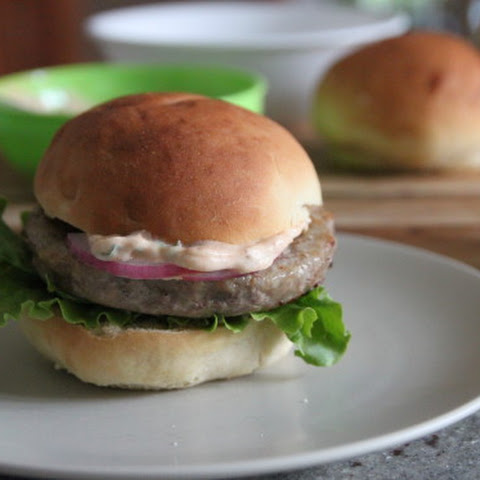 Turkey Burgers with Spicy Herb Mayo and Pickled Onions