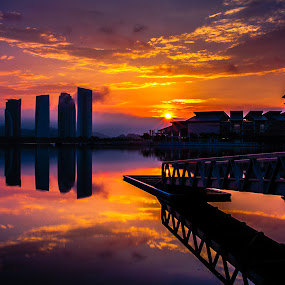 Sunrise in Putrajaya by Jacky Photography - Landscapes Sunsets & Sunrises ( sky, putrajaya, cloud, sunrise, landscape, refelection )