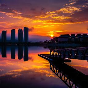 Sunrise in Putrajaya by Jacky Photography - Landscapes Sunsets & Sunrises ( sky, putrajaya, cloud, sunrise, landscape, refelection )