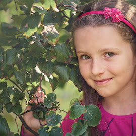 Tree Fairy by Jiri Cetkovsky - Babies & Children Child Portraits ( girl, park, tree, pink, portrait )