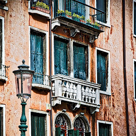 Rome by Jim Antonicello - Buildings & Architecture Architectural Detail ( rome, stree lamp, balcony )