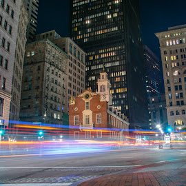 Old State house Boston Ma by Paul Gibson - Buildings & Architecture Public & Historical ( boston, street, light trails, long exposure, night, street photography )