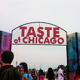 Chicago Taste Festival: Summer of 2015 by Davina Michelle - City,  Street & Park  Markets & Shops ( leading lines sky, structure, red, colorful, colors, food, chicago, people, taste, daylight, crowded )