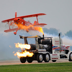 In the heat of the moment! by Greg Harrison - Transportation Airplanes ( shockwave, lucas oil, jet truck, aircraft, air show )