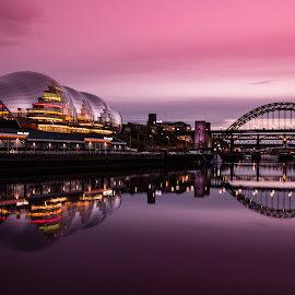 Purple Quayside Sunset by Davey T - City,  Street & Park  Historic Districts ( sage, reflection, purple, waterscape, tyne, sunset, gateshead, newcastle, river )