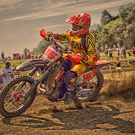 Leading Position by Marco Bertamé - Sports & Fitness Motorsports ( curve, mortocross, spectators, 15, number, yellow, race, red, fifteen, shadow, dust, clumps, alone, accelerating, competition )