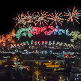 Nagaoka Fireworks by Carol Tan - Buildings & Architecture Public & Historical ( #nagaoka, #fireworks, #cityscape, #colours, #night, #japan,  )