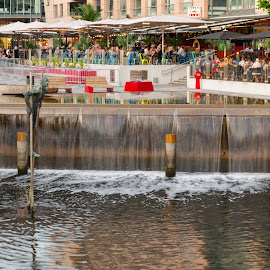 A Summer Evening by Ansari Joshi - City,  Street & Park  Street Scenes ( hand held, aker brygge, my travels, long exposure, summer, oslo, waterscape, waterfall, visit oslo, norway, evening, my photography, landscape )