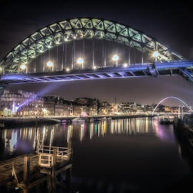 Tyne Bridge At Night by Adam Lang - Buildings & Architecture Bridges & Suspended Structures ( river tyne, tyneside, gateshead, newcastle, tyne bridge )