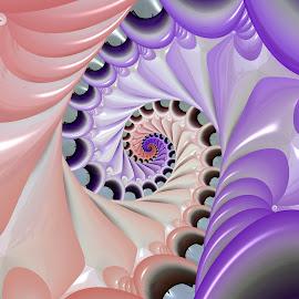 Spiral 34 by Cassy 67 - Illustration Abstract & Patterns ( pastel, shell, abstract art, swirl, digital art, spiral, fractal, digital, fractals )