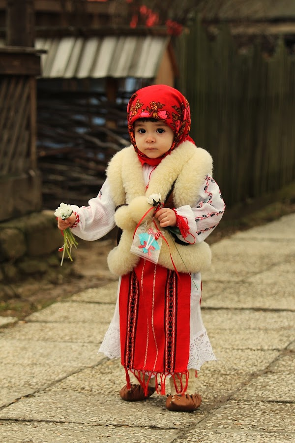 Little peasant by Nicu Buculei - Babies & Children Children Candids ( girl, village, street, romania, dragobete, , red, white, pwc87 )