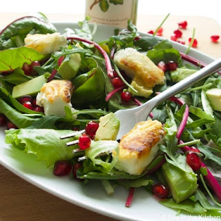 Salad With Avocado, Baked Feta And Pomegranate Seeds