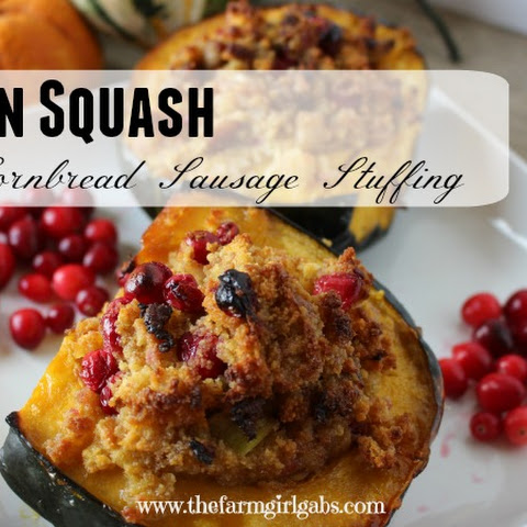 Acorn Squash Stuffed with Cornbread, Sausage & Cranberries