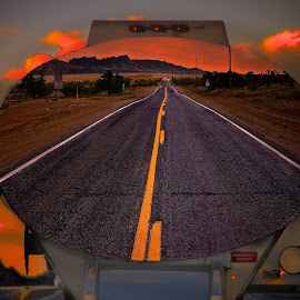The Idea by Alex  Wolf - Transportation Automobiles ( wolfprodcuion.us, trucks, reflection, alex wolf, highway, photoshop, oil )